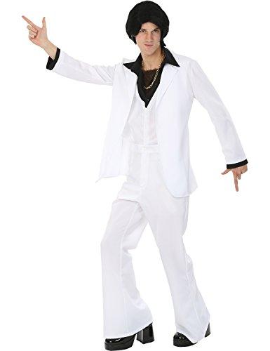 Dress Fancy 70er Kostüme (Herren Weiß 70er Disko Samstag Nacht Karneval Verkleidung Kostüm Extra)