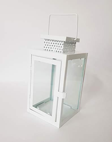 takestop® Farol Blanco Cristal Acero portavelas 11,5 x 11,5 x 22 cm Boda Shabby Chic Tea Light Porta Vela Vela jardín