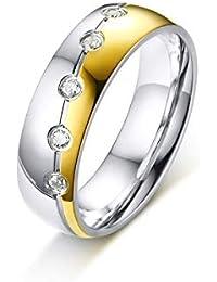 AAJewels Anelli delle Signore, Anelli in Acciaio Chirurgico per Le donnes, Argento Oro Anello con Zirconi, 6MM Promessa di Donne Anelli di Fidanzamento