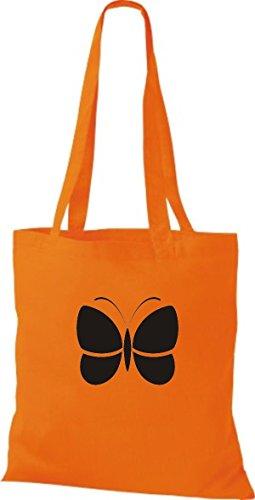 ShirtInStyle Stoffbeutel Schmetterling Butterfly Libelle Käfer Marienkäfer Kult orange