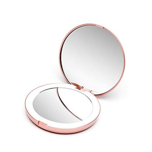 Fancii Taschenspiegel Zweiseitiger Schminkspiegel mit LED Licht, 1X / 7X Vergrößerung - Kompakt, Tragbarer, Große 10.50 cm Make-up-Spiegel Kosmetikspiegel Beleuchtet für Kosmetik Unterwegs (Rotgold) (Make-up-spiegel Mit Tasche)