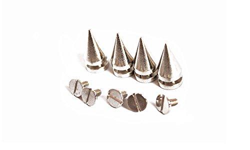 Trimming Shop, Punk-Nieten mit Schraubverschluss, 10 mm x 20 mm, silberfarben, für Lederarbeiten, metall, silber, 100 Pieces - Stud-trim Leder