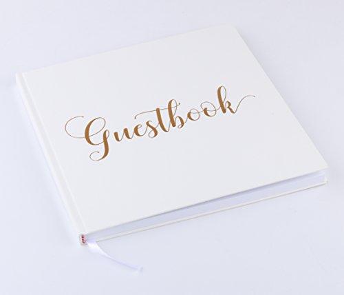 Libro degli ospiti per feste di matrimonio, battesimo o compleanno   72 pagine, copertina rigida, carta di alta qualità   Vintage Guestbook ideale come libro dei visitatori (21x21 cm, Bianco)