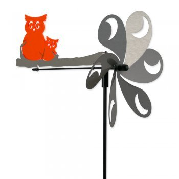 IMC Networks CIM Moulin à vent en acier inoxydable - Ultra résistante aux intempéries - diamètre du moulin : 28 cm, motif : 28,5 x 35,5 cm - avec bâton de support et piquet 90 cm