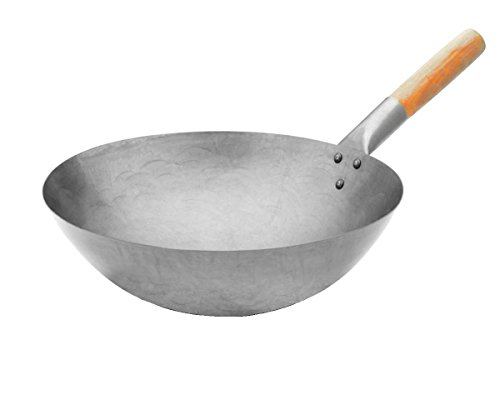 Euphoric Gifts, grande wok professionale in acciaio al carbonio, stile cinese, resistente, adatto a...
