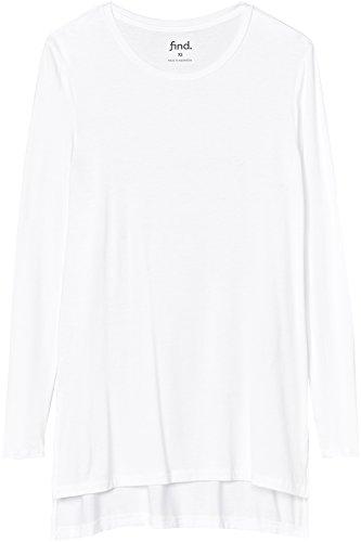 FIND Damen Langarmshirt mit Seitenschlitzen, Weiß (White), Large