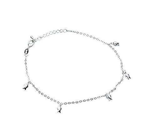 Onefeart Plaqué Argent Bracelet de Cheville Chain Pour Femme Rose