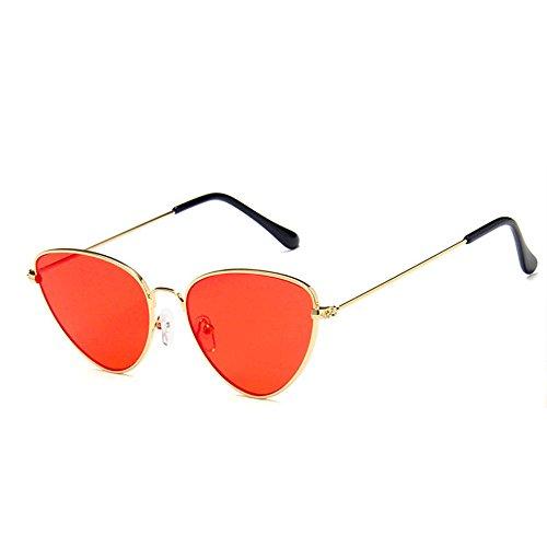 Fashion Cat-Eye Sonnenbrille Universal Sonnenbrille für Mädchen und Frau, für den Alltag (Goldener Rahmen Jelly Red)