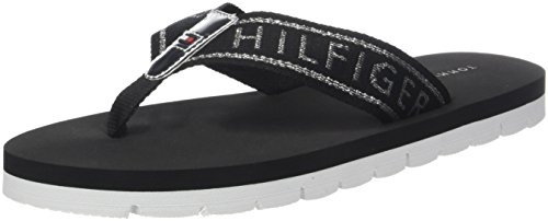 Tommy Hilfiger Damen Flexible Essential Beach Sandal Zehentrenner Schwarz (Black 990)
