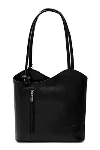 LiaTalia Damen großartige weiche italienische Leder Piping Detail Schulter oder Rucksack Tasche mit Schutztasche - Libby z** (Nicht Piping) - Schwarz - Italienische Leder Schultertasche Satchel