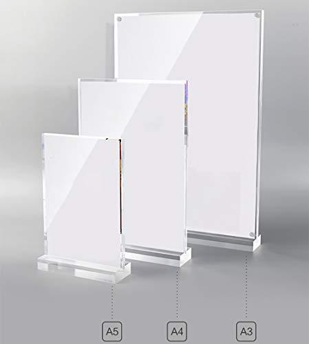 Z·Bling Soportes de acrílico para Carteles, A3/A4/A5, en Forma de T, de Doble Cara, Ideal para promociones, restaurantes, Marcos de Fotos, Documentos y más - 21×29,7cm