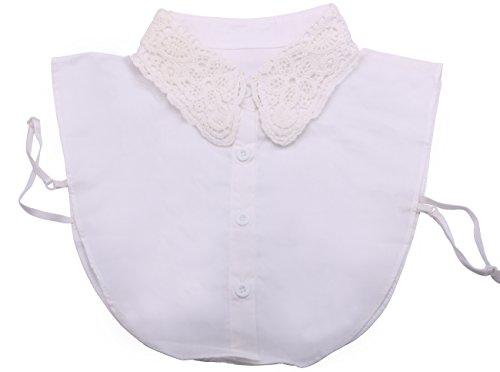 Kissing U Stilvoll Fake Collar Bluse mit Bust Elastikband Verschiedene Muster (1)