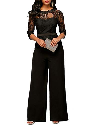 FeelinGirl Damen Jumpsuit Elegant Spitze Jumpsuit mit 1/2 Ärmel Bluse Overall Stilvoll Hohe Taille Weitem Bein Langhose Einteiler Hosenanzug Party Abendmode, Schwarz, M (EU 38)