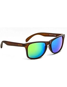 SUNXY - Gafas De Sol, Equipadas Con Montura De Policarbonato En Un Color Marrón Mate Y Lentes De Espejo Color...