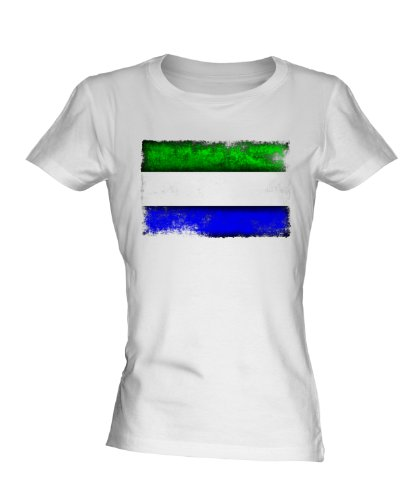 Sierra Leone Distressed Flag Ladies White T-Shirt Fitted T Shirt Top