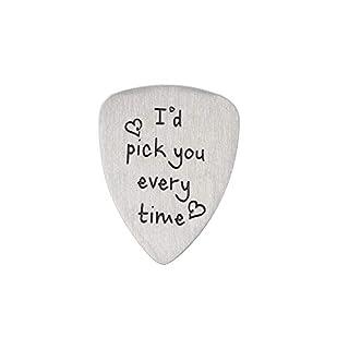 Aroncent Gitarre Plektrum Metall Plektren Plektrum Plektron für Gitarre Edelstahl Gitarrenplektrum Charm mit Gravur i Pick You Always & Forever I'd Pick You Every time