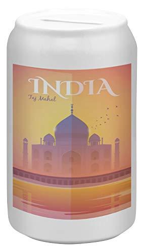 LEotiE SINCE 2004 Spardose Sparbüchse Geld-Dose Wiederverschließbar Farbe Weiß Urlaub Reisebüro Indien Taj Mahal Keramik Bedruckt