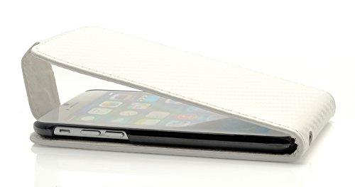 """iProtect Apple iPhone 6 (4,7"""") 6s Hülle Flip Case Kunstledertasche Schutzhülle schwarz Flipcase carbonoptik Weiß"""