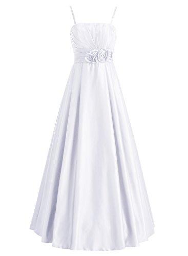 Bbonlinedress Robe de soirée et de demoiselle dhonneur plissée florale bretelle spaghetti sans manches et strass longueur ras du sol en soie Blanc