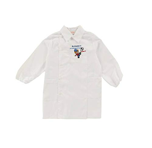 Ambrosino grembiule asilo bianco celeste quadretti il calcio mia passione h601 (tg. 50-3 anni - 98 cm, bianco)
