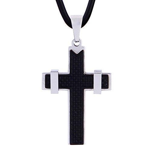 Sophie & Jules Herren Leder Halskette Lederkette 50 cm mit Edelstahl Kreuz Anhänger modern - Leder Verarbeitetes