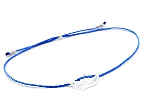 SCHOSCHON Damen Freundschaftsarmband Papierboot Symbol in Silber-Blau 925 Silber // beste Freundin Schwester Armband Papierschiff Segelschiff