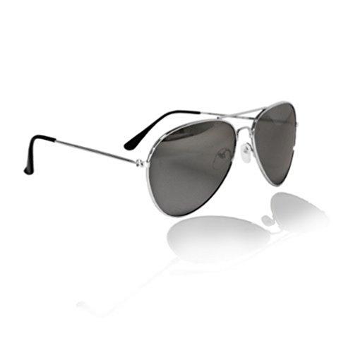 PURECITY©-Sonnenbrille Piloten--FBI-Gestell Metall-Unisex-Fashion Trend, Silber
