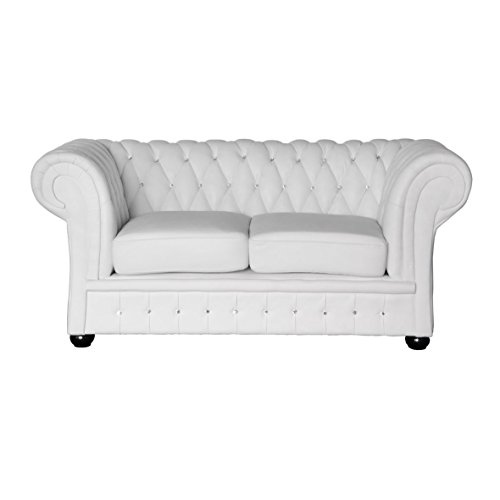 Classic Chesterfield 2-Sitzer Sofa weiss Kristall Sofa Outlet