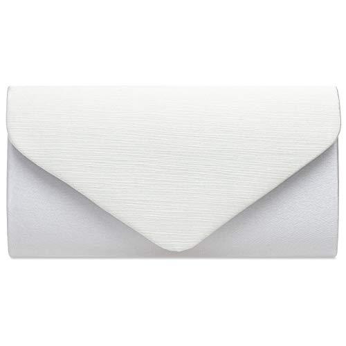 Weiß Abend-handtasche (Caspar TA500 elegante Damen Envelope Satin Clutch Tasche Abendtasche, Farbe:weiss, Größe:Einheitsgröße)
