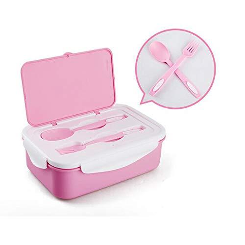 Scatola per il pranzo riutilizzabile, doppi livelli con 3 scomparti, scatole bento riutilizzabili contenitori per alimenti a prova di perdite con stoviglie bpa gratuito per bambini, adulti,pink