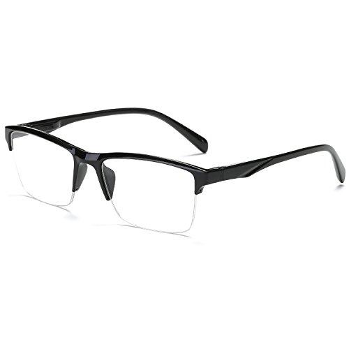 VEVESMUNDO Lesebrille Herren Damen Modern Halbrahmen Lesehilfe Sehhilfen Halbrand Schwarz Brillen 0 0,25 0,5 0,75 1,0 1,25 1,5 1,75 2,0 2,25 2,5 2,75 3,0 3,25 3,5 3,75 4,0 (1 Stück Lesebrille, 0.25)