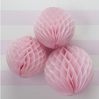 Wabenbälle in rosa / pink im 3er Set - 2 verschieden Größen - must-have Partydekoration