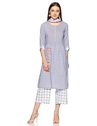 BIBA Women's Synthetic Bubble Hem Salwar Suit Set