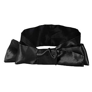 Frcolor 2 Pcs Satin Augenband Schlafmaske Bequeme Augenbinde Blickdichte Augenmaske für Erwachsene (Schwarz)