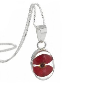 Silver Pendant with a real flower - Poppy - Oval +18
