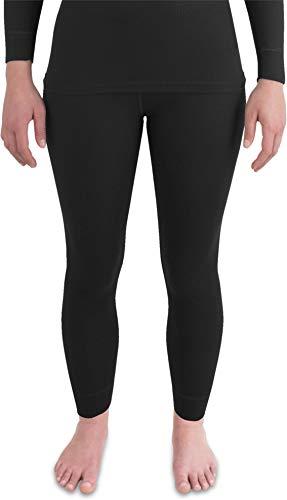 normani Damen Thermo-Unterhose lang mit Quick-Dry-Funktionsmaterial in Rippoptik - Funktionsunterhose warm, weich, schnelltrocknend und atmungsaktiv Farbe Schwarz Größe M