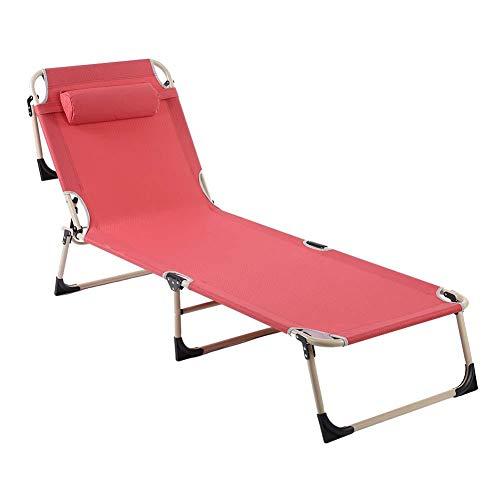 Gototop lettino a sdraio sedia sdraio lettino da giardino lettino prendisole pieghevole,ergonomico,192 x 62cm (rosso)
