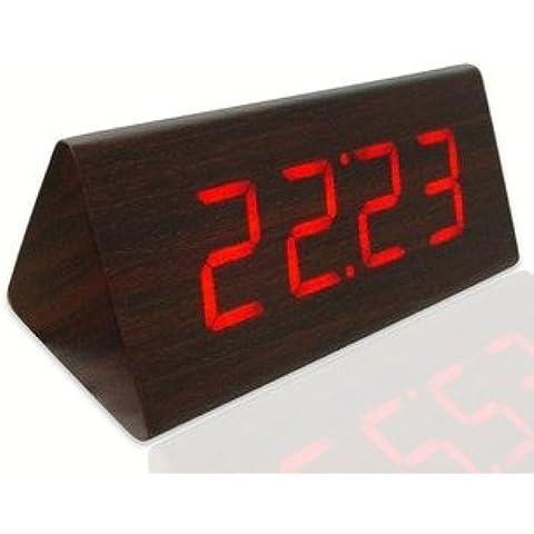 XIASDL Reloj de madera reloj de madera Reloj LED Reloj Despertador electrónico creativo Desk Clock Reloj silencioso Linterna luminosa, 3 Esquina Roja Redwood