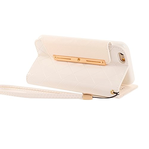 Phone case & Hülle Für IPhone 6 / 6S, Wallet Style Diamond verkrustete Ledertasche mit Lanyard & Card Slots & Geld Tasche ( Color : White ) White