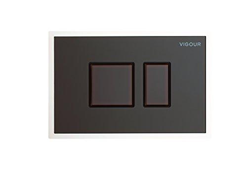 VIGOUR Betätigungsplatte AI, Tastenrahmen aus Glas, Betätigungstaste aus Glas, Farbe: Kastanie
