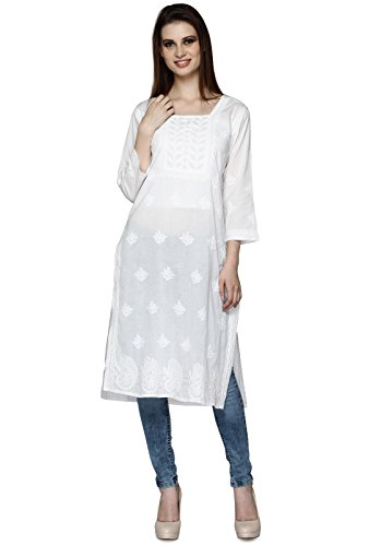 Indiankala4u-Ladies-Dresses-Tops-Kurti-Cotton-Long-Kurta-Hand-Embroidery-Handmade-Lucknow-Chikankari-for-Women-Cotton