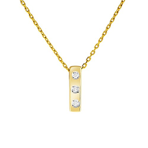 Diamond Line Damen - Halskette 333er Gold 3 Diamanten ca. 0,035 ct, gelbgold