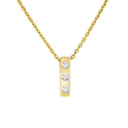 Diamond Line Damen - Halskette 333er Gold 3 Diamanten ca. 0,035 ct, gelbgold