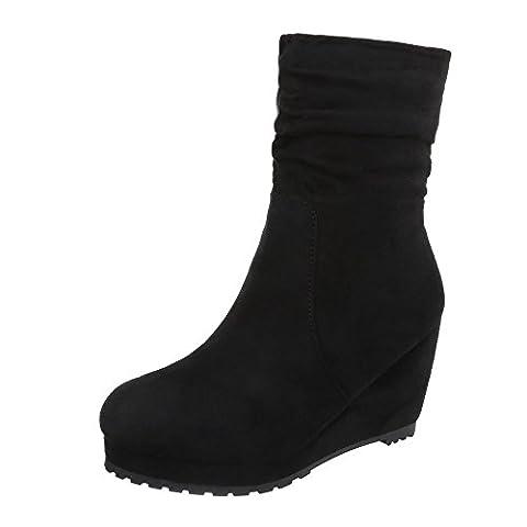 Keilstiefeletten Damen-Schuhe Plateau Keilabsatz/ Wedge Keilabsatz Reißverschluss Ital-Design Stiefeletten Schwarz, Gr 41, (Keilabsatz Schwarz)