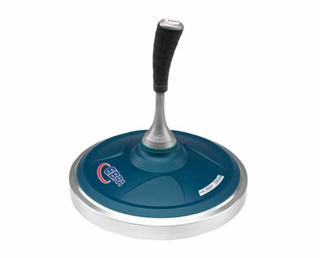 EBRA Hobby Eisstock Set 3,8 kg (grün), Kompaktstiel, Winterlaufplatte schwarz (schnell)