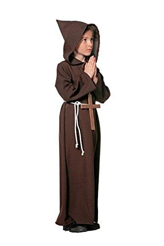 Mönch Pater Kindermönch brauner Umhang braune Kutte mit großem Kreuz 116 bis 164 (Braunes Kostüm Mönch)