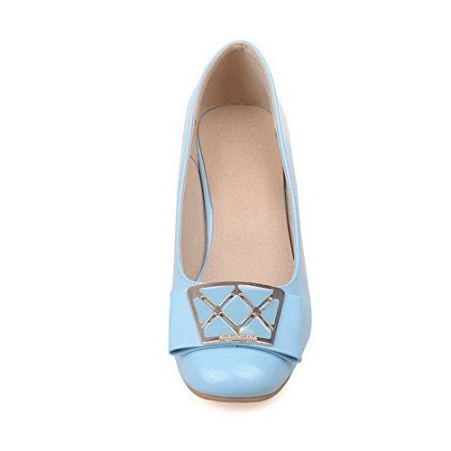 AllhqFashion Femme Pu Cuir Mosaïque Tire Carré à Talon Correct Chaussures Légeres Bleu