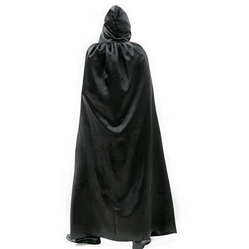 Heilsa Halloween Zauberer Hexe Prinz Cosplay Kostüm Cape Party Dress Up DIY Umhang für Erwachsene, Schwarz, XL