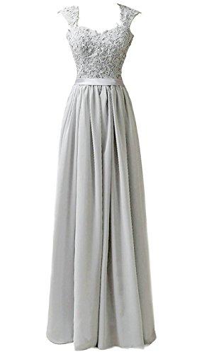 Vantexi Frauen Chiffon Lange Formal Abendkleider Ballkleid Abschlussball Kleider Silber Größe 36
