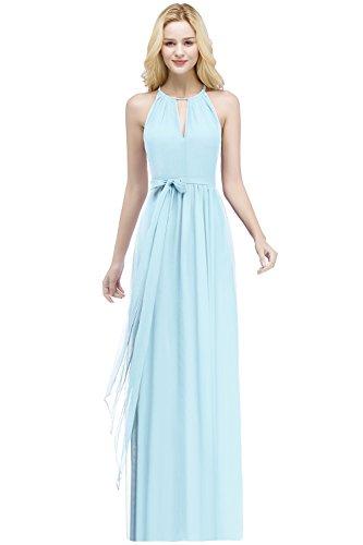 Babyonlinedress Damen Vintage Chiffon Hochzeit Brautjungfer Lang Spitzenkleider Abendkleider, Himmelblau, 44 -